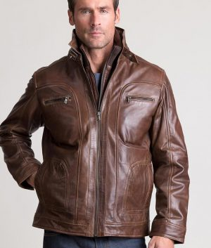 61ca3f529 Bushee Mens Lambskin Leather Bomber Moto Slimfit Brown Jacket