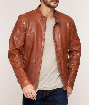 Calvert Mens Hank Washed Leather Moto Jacket