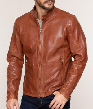 Calvert Mens Lambskin Leather Moto Jacket