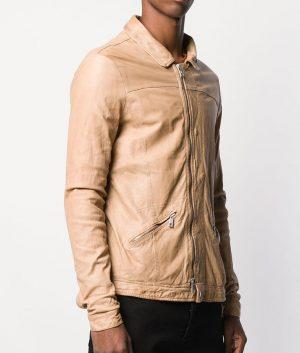 Candelario Mens Casual Marrone Color Leather Jacket