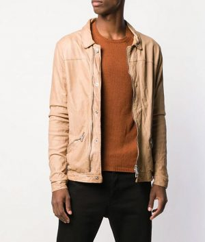 Mens Casual Slimfit Marrone Color Leather Jacket