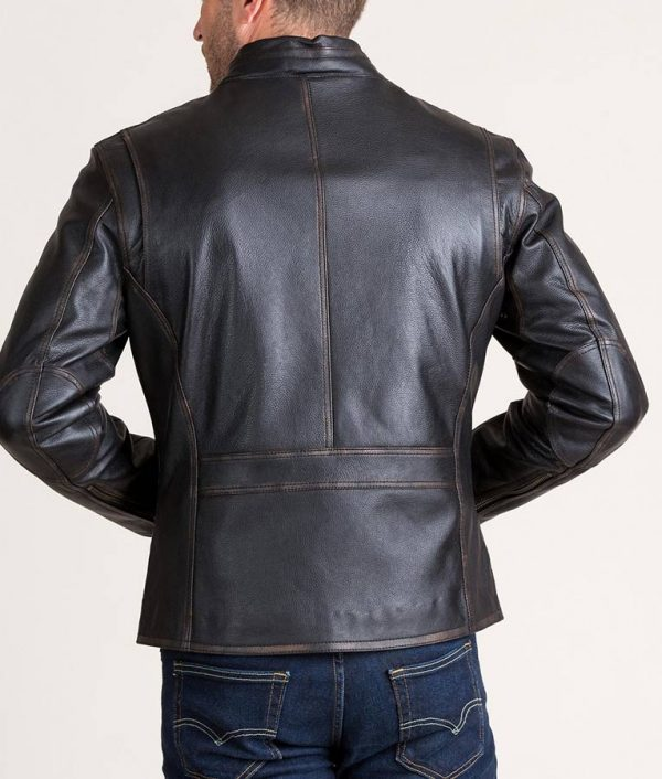 Cavazos Mens Black Retro Cowhide Leather Jacket