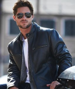 Cavazos Mens Black Retro Leather Jacket