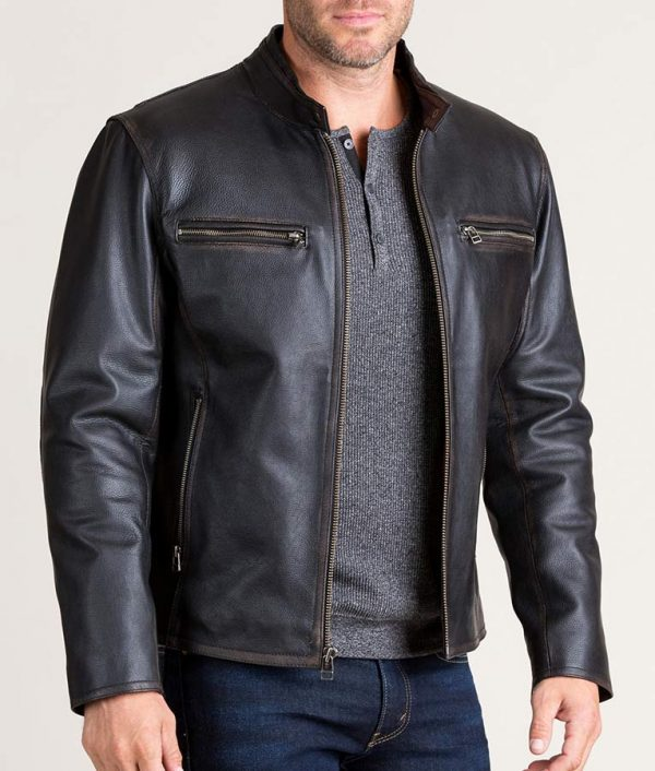 Cavazos Mens Black Retro Motocross Cowhide Leather Jacket