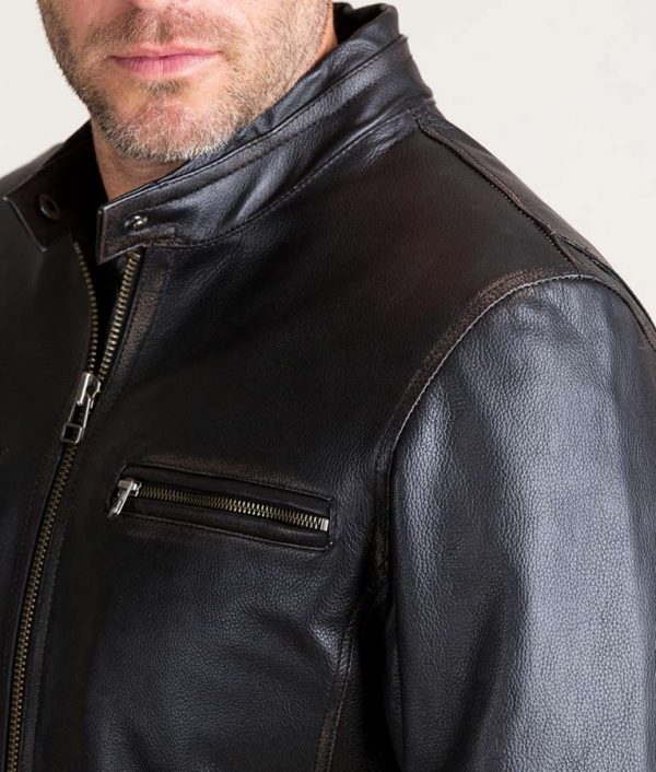 Mens Black Retro Motocross Cowhide Leather Jacket
