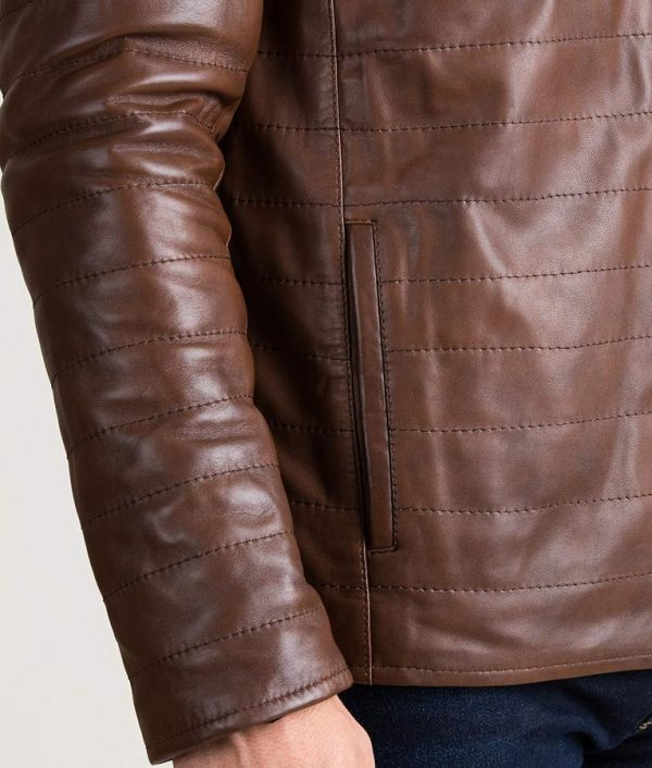 Mens Brown Quilted Lambskin Leather P