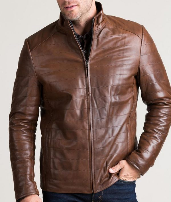 Chavez Mens Brown Quilted Lambskin Leather Jacket