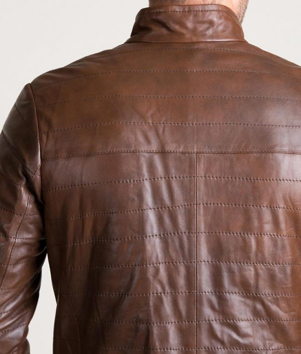 Chavez Mens Brown Quilted Lambskin Leather Puffer Jacket
