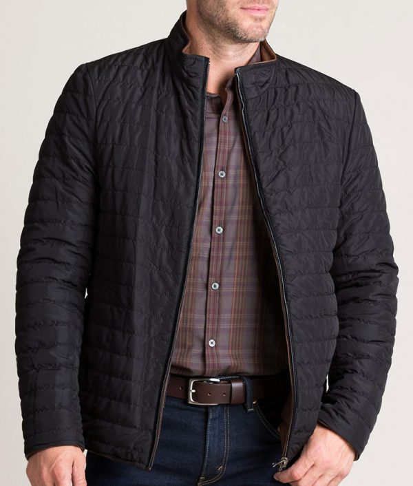 Chavez Mens Brown Quilted Leather Puffer Jacket