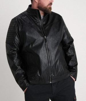 Christopher Mens Mandarin Collar Padded Shoulder Leather Jacket