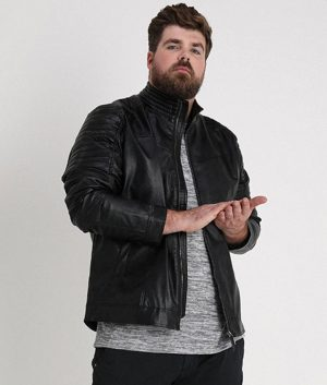 Christopher Mens Mandarin Collar Black Leather Jacket