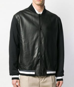 Mens Slimfit Casual Style Black Bomber Leather Jacket