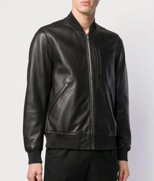 Mens Casual Zip Up Cafe Racer Black Bomber Leather Jacket