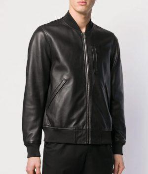 Mens Casual Zip Up Cafe Racer Black Bomber Leather Jacket