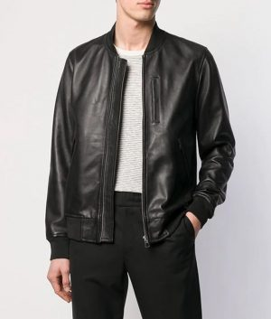 Clarence Mens Casual Zip Up Black Bomber Leather Jacket