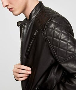 Mens Mandarin Collar Slimfit Black Cafe Racer Leather Jacket