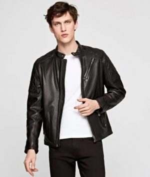 Crosby Mens Mandarin Collar Cafe Racer Leather Jacket