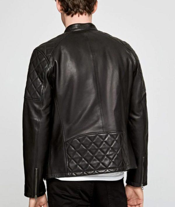 Crosby Mens Mandarin Collar Slimfit Black Cafe Racer Leather Jacket