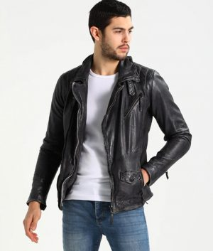 Dailey Mens Padded Shoulders Black Leather Jacket