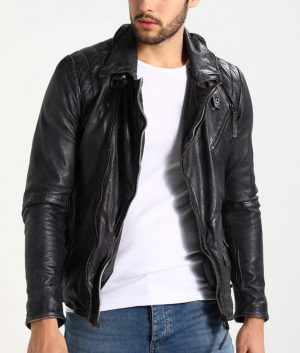 Dailey Mens Lapel Collar Leather Jacket