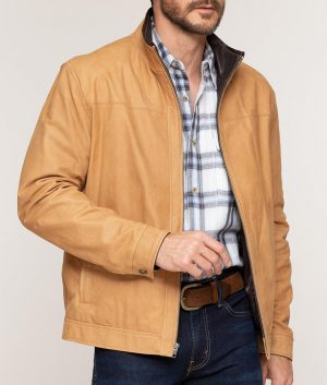 Davis Mens Casual Style Lambskin Leather Jacket