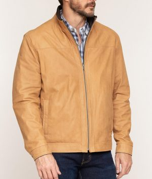 Davis Mens Brown Lambskin Leather Jacket