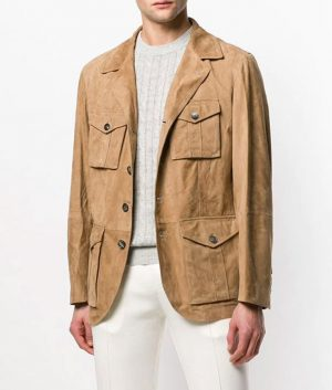 Douglas Mens Multi Pockets Sand Color Leather Jacket