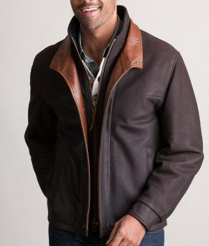 Efren Mens DARK BROWN Slimfit Romano Leather Jacket
