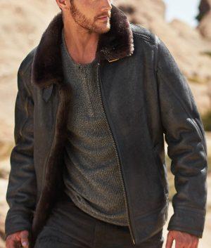 Eichorn Mens Shearling Sheepskin Bomber Leather Jacket