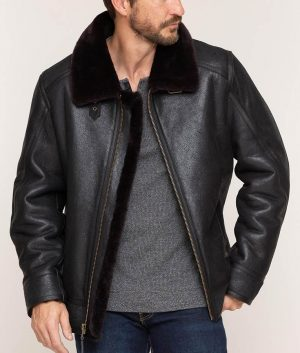 Eichorn Mens Shearling Black Bomber Leather Jacket