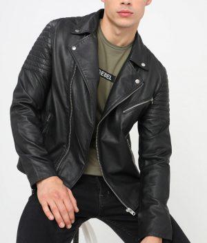 Elmore Mens Lapel Collar Slimfit Black Leather Jacket