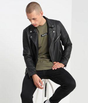 Elmore Mens Lapel Collar Slimfit Black Motorcycle Leather Jacket