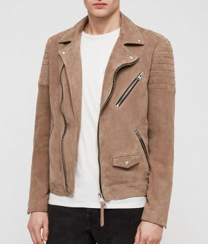 Mens Lapel Collar Taupe Brown SUEDE BIKER Leather JACKET