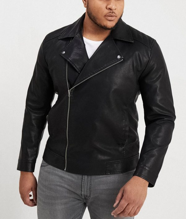 Fletcher Mens Lapel Collar Black Leather Jacket