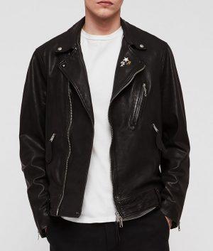 Mens Zip closure Casusal Black Biker Style Leather Jacket