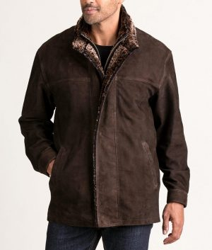 Francis Mens VINTAGE BROWN Goatskin Suede Jacket