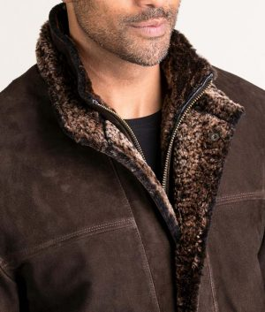 Francis Mens VINTAGE BROWN Goatskin Suede Leather Jacket