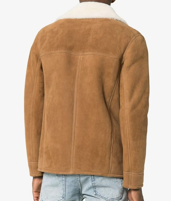Frank Mens Casual Shearling Fur Collar Leather Jacket