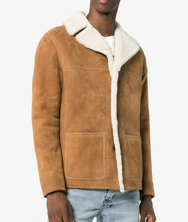 Frank Mens Casual Shearling Fur Collar Style Leather Jacket