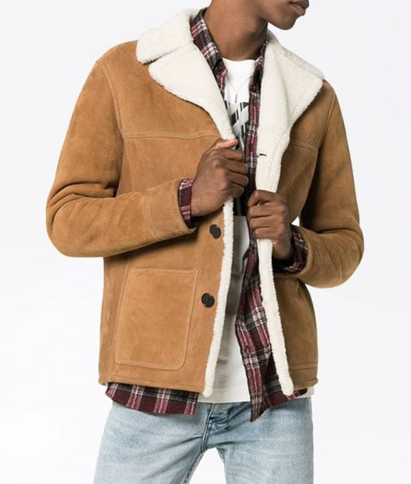 Mens Casual Shearling Fur Collar Style Leather Jacket