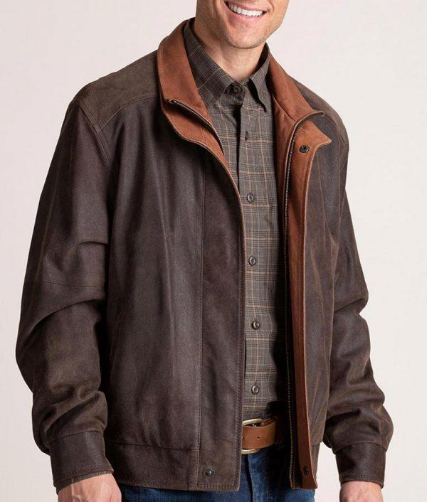Mens Italian Lambskin Leather Brown Bomber Jacket
