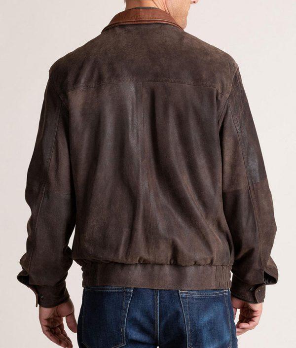 Genaro Mens Italian Lambskin Brown Bomber Jacket