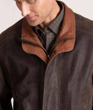 Genaro Mens Italian Lambskin Leather Brown Bomber Jacket