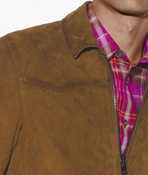 George Mens Turn Down Collar Slimfit Casual Brown Sedue Leather Jacket