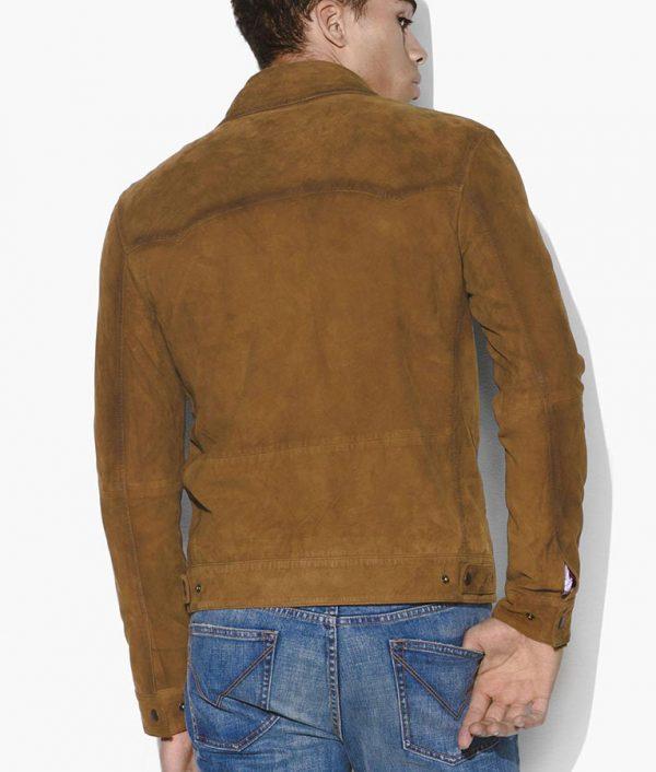 George Mens Turn Down Collar Casual Brown Sedue Leather Jacket