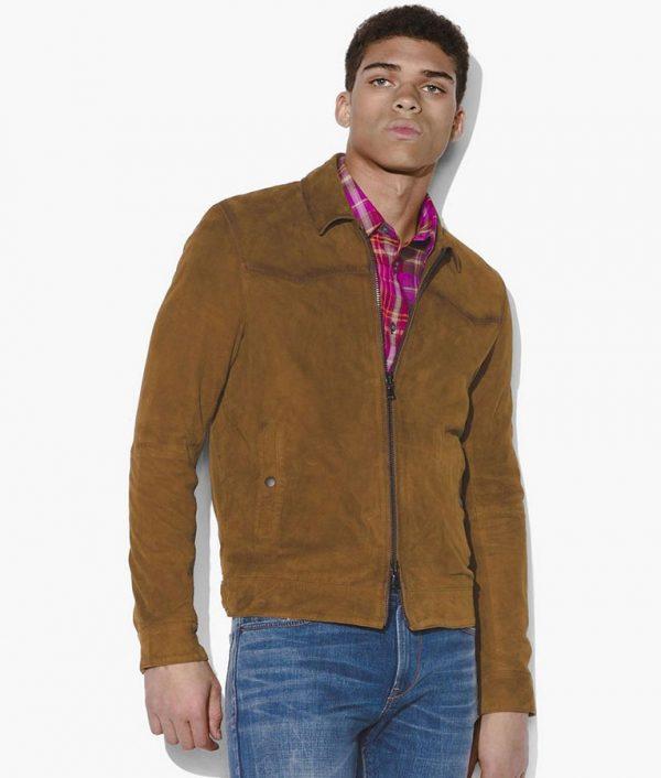 George Mens Turn Down Collar Slimfit Casual Brown Leather Jacket