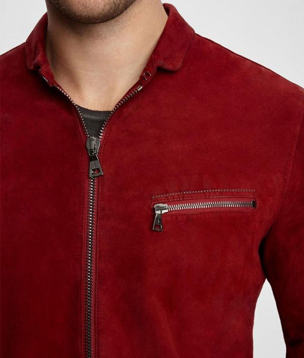 Down Collar Leather Jacket