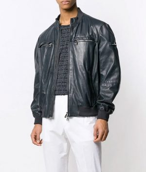 Gomez Mens Cafe Racer Style Slimfit Bomber Leather Jacket