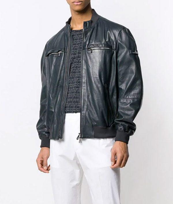 Gomez Mens Cafe Racer Style Slimfit Bomber Leather Jacket