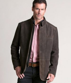 Mens VINTAGE BROWN Goatskin Suede Leather Blazer Jacket